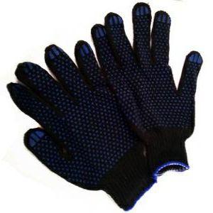 Перчатки Х/Б ПВХ Черные
