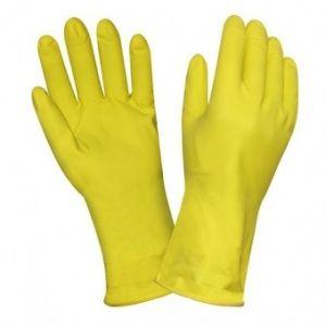 Перчатки резин с х/б напылением Грифон/Умничка желтые /S/