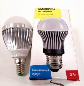 Лампа светодиодная Е14 3Вт  2700К алюмниевый корпус