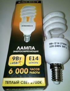 Лампа энергосбер Е14  9Вт Энерджи полуспираль теплый