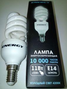 Лампа энергосбер Е14 11Вт Энерджи полуспираль холодный