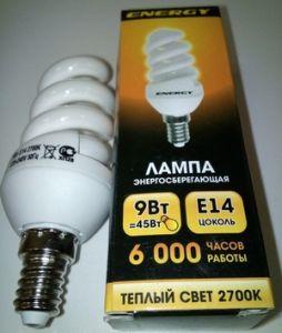 Лампа энергосбер Е14  9Вт Энерджи спираль теплый