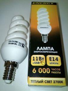 Лампа энергосбер Е14 11Вт Энерджи спираль теплый