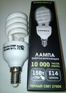 Лампа энергосбер Е14 15Вт Энерджи полуспираль теплый