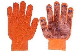 Перчатки Х/Б ПВХ акрил оранж