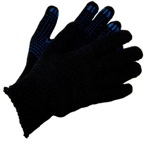 Перчатки Х/Б ПВХ Черные п/шесть двойные